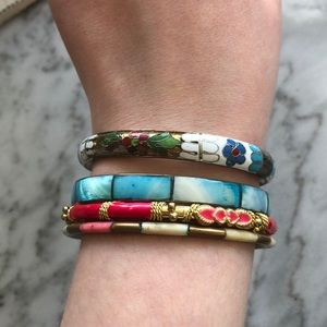 Assorted Multi-Colour Resin & Metal Bangles (4pc)